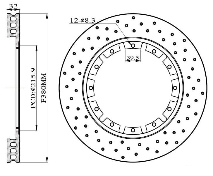 Tarcze hamulcowe nawiercane do zestawu Big Brake 380mm 2015+ - GRUBYGARAGE - Sklep Tuningowy